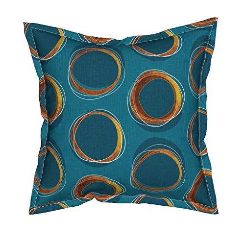 Roostery Solar Linen Cotton Canvas Throw Pillow Cover - Eclipse Mid Century Gold Circles Mia by Mia Valdez - Flanged Cover w Optional Insert by Roostery