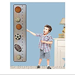 Growth Chart Basketball Baseball Football Soccer Ball Sports Wall Decals Vinyl Sticker Kid Height Measurement Children Nursery Baby Room Decor Boy Bedroom Decorations Child Measure Growing Babies Girl