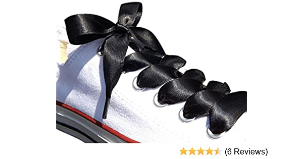 68bd62bd4389b2 Black Satin Ribbon Shoe Laces   Shoe Strings To Fit Converse Sneakers in  Lo s   Hi Tops   Similar Kicks Pumps Trainers. From a Stylish UK Brand with  Our ...