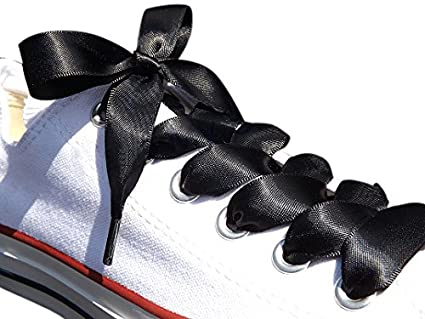 3bd05d1fb3ee Black Satin Ribbon Shoe Laces   Shoe Strings To Fit Converse Sneakers in  Lo s   Hi Tops   Similar Kicks Pumps Trainers. From a Stylish UK Brand with  Our ...