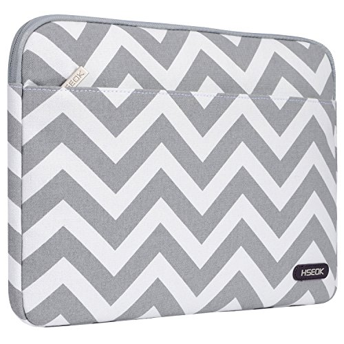 HSEOK Laptop Sleeve Canvas Fabric Case Cover for 12.9 iPad Pro, 13.3 Inch Notebook Computer / MacBook Air / MacBook Pro, Chevron Gray