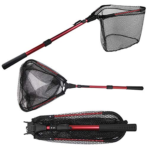 affordable YVLEEN Folding Fishing Net - Foldable Fish Landing Net Robust Aluminum Telescopic Pole Handle and Safe Fish Catching or Releasing for Durable and Nylon Mesh 16inch Hoop Size ...