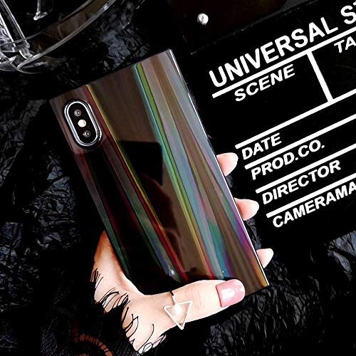 Fitted Cases - Laser Rainbow Shining Square Phone Case For Iphone Xs Xr Xs Max X 6 6s 7 8 Plus Soft Imd Back Cover Bags Coque Cases - For iPhone 8 Plus_Black - Dress Girls Box Buffer File ()