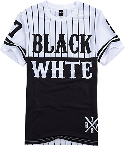 OVOY Mens Hipster Hip Hop Black and White Striped Baseball T shirt Tee Tops (XL, black) - Black And White Shirts For Men