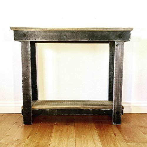 - Rustic Handcrafted Reclaimed Console Table - Self Assembly - Natural and Black