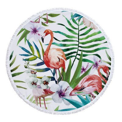 Vesub Microfiber Printing Round Beach Towel Flamingos Tassel Soft Stand Towels 150x150cm (style7)