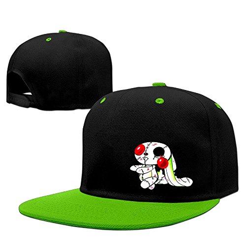 Zombie Bunny Hip Hop Baseball Caps Comfortable Flat Bill Plain Snapback Hats KellyGreen
