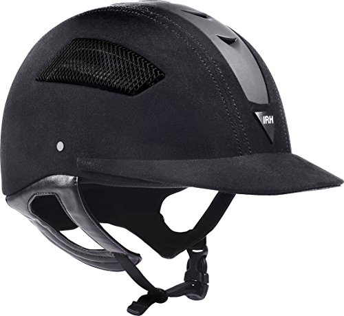ELITE EQ Full Wrap-Around Harness Helmet with Amara Suede Shell & Matte Black Front Vent, Size 7 1/4, Black