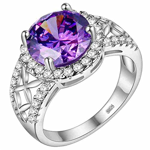Simulated Ruby Cocktail Ring (Uloveido Cushion Cut Simulated Ruby Cubic Zircon Silver Cocktail Wedding Band Ring PJ4262-Silver-Red-8)