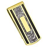 ICE CARATS Gold Plated Kelly Waters Black Grey Colored Money Clip Man Key Ring Wallet