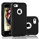 iphone5c clip case - FOGEEK iPhone 5C Case, Dual Layer Anti Slip 360 Full Body Cover Case PC and TPU Shockproof Protective Compatible for Apple iPhone 5C ONLY (Black)
