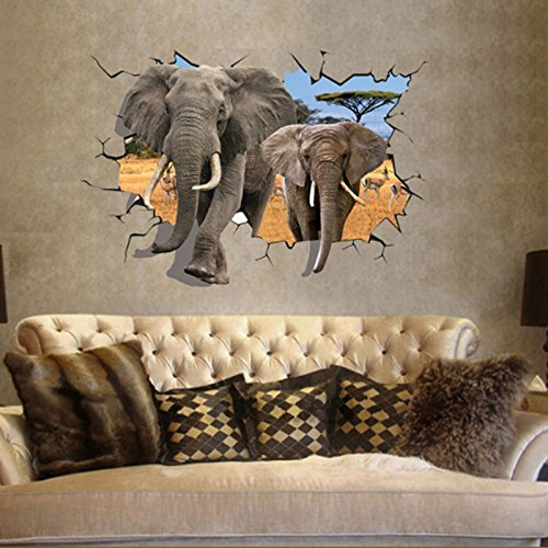 African elephant 3d style wall decal pvc home sticker African elephant home decor