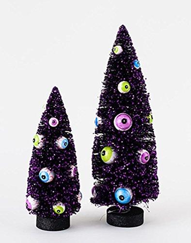 Halloween Spooky Black Bottle Brush Sisal Tree with Eyeball Ornaments Set of -