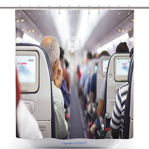 vanfan Cool Shower Curtains Interior Of Airplane With Passen