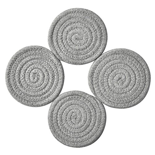 Coasters Set, Pure Cotton Thread Weave Round Drink Hot Pads Mats Coasters Set of 4 by 4.3 Inches Protect Furniture From Excess Condensation & Scratch (Grey)
