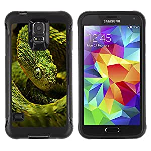 iDesign Rugged Armor Slim Protection Case Cover - Cool Neon Green Snake - Samsung Galaxy S5