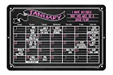 Chalkboard Style Board Monthly Wall Calendar 12 x 18 Metal Tin Sign Durable and Easy Hanging on Wall - Customizable with Liquid Chalk Markers (Not Included)