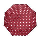 LAVOVO White Polka Dots Red Umbrella Double Sided Canopy Auto Open Close Foldable Travel Rain Umbrellas