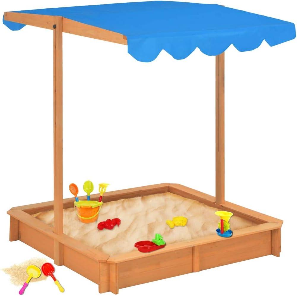 ACCEWIT - Caja de Arena con Techo Ajustable, Madera, Color Azul, UV50: Amazon.es: Hogar