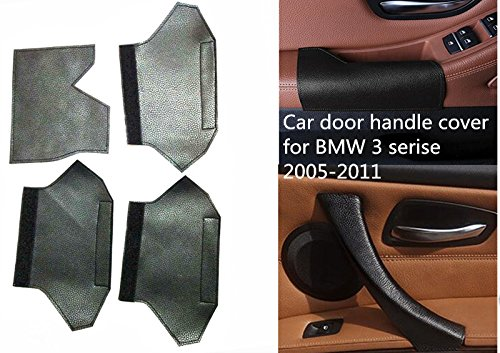 Fit for BMW 3 Serise E90 E91 Interior Door Handle Cover Leather Mat Accessories (black)