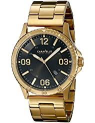 Caravelle New York Mens 44B104 Analog Display Japanese Quartz Yellow Gold Watch