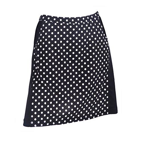 Monterey Club Ladies Contrast Side Flurry Pull-on Knit Skort #2922 (Black/White, Large) by Monterey Club