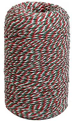 Tenn Well 656 Feet Cotton Bakers Twine, Red Green White Striped Twine String for Christmas Gift Wrapping, Baking, Butchers, Crafts