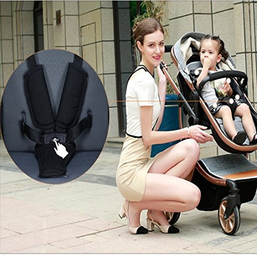 AIMILE Newborn Baby Pram Infant Foldable Anti-shock High View Jogger Stroller Multi-Positon Reclining Seat Stroller Pushchair(Grey) by OLizee (Image #4)