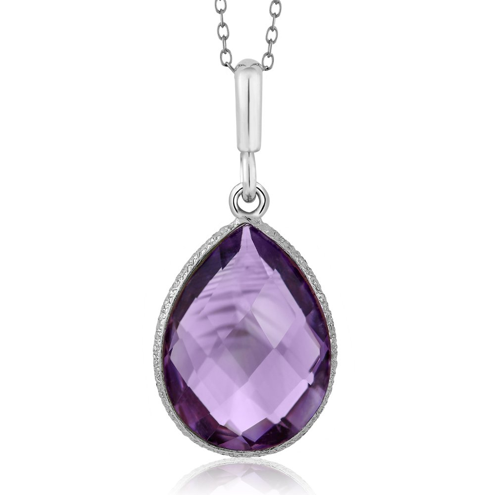 925 Sterling Silver 6.50 Ct Faceted Amethyst Pear Shape Pendant Necklace with 18 Inch Silver Chain