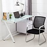 Computer Desk PC Table Glass Top & Side Drawer UEnjoy Home Office Workstation,White