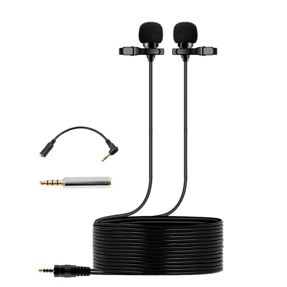 Dual Lavalier Microphone 236'' (6m) Lapel Microphone,Professional Lapel Clip-on Omnidirectional Condenser Mic for Apple iPhone,Android,PC,Recording YouTube, Interview,Video Conference, Broadcast