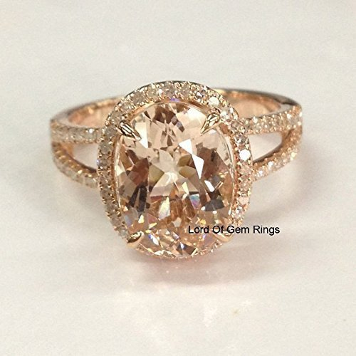 Oval Morganite Engagement Ring Pave Diamond Wedding 14K Rose Gold 8x10mm Split Shank ()