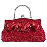 Bagood Women's Evening Bags Beaded Pearl Flower Handbag Clutches Purses Shoulder Bag for Wedding Prom Bridal Red