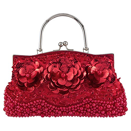Bagood?Women's?Evening?Bags?Beaded?Pearl?Flower?Handbag?Clutches?Purses?Shoulder?Bag?for?Wedding?Prom?Bridal Red