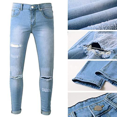 Da Blau Con Fit Semplice Elasticizzato Denim Slim Jeans Strappati Motociclista Uomo Strappato Stile 7qtzSdwa