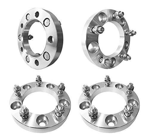 FAS Motorsports 5x5.5 Wheel Spacers (1 inch) 25mm (108mm bore, 12x1.25 Studs & Nuts) 5 Lug wheelspacer for Geo Tracker, Suzuki Samurai, Sidekick, Vitara, X-90, XL-7 (Silver) (4 Pieces)
