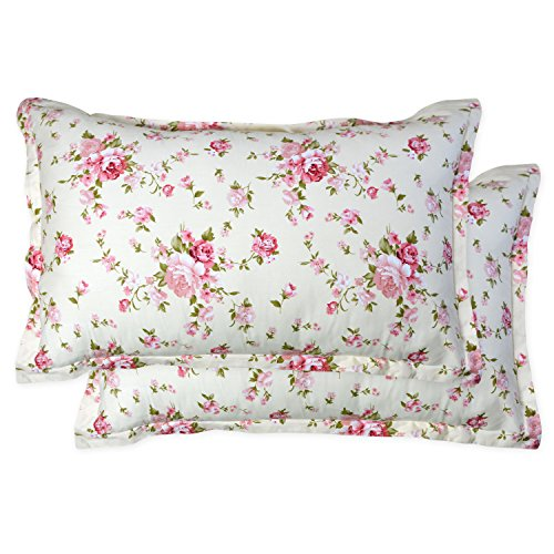 Brandream Pillow Cases Set of 2 Cotton Standard Size Shabby Floral Bedding Decorative Pillow Covers 20 X 27 Inch
