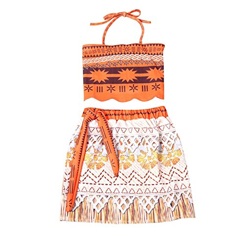 Rizoo Little Girls Printed Halter Two Piece Summer Outfits Princess Moana Costumes Birthday Party Dress up (3-4T, Multi) -