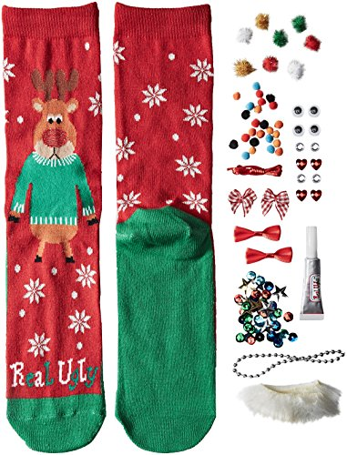 Real Ugly Women's 9-11 Christmas Kits Socks by Soxland, Reindeer, One Size (Stocking Rhinestone Christmas)