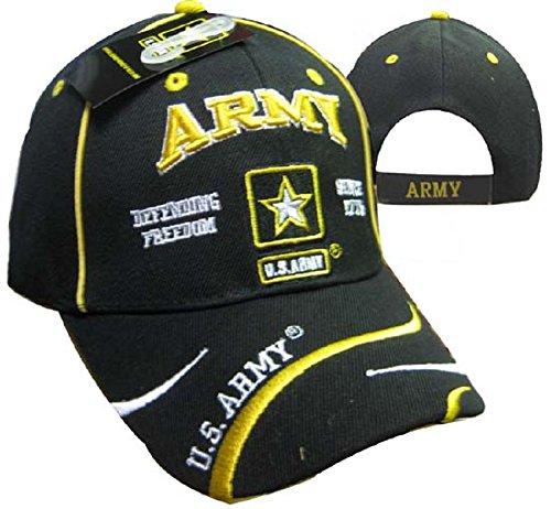 Freedom Army Star - U.S. Army Star Defend Freedom Swirl Black Embroidered Cap Hat 595E