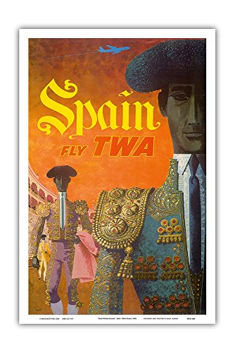 Spain Fly TWA - Trans World Airlines - Matadores (Matadors) - Vintage Airline Travel Poster by David Klein c.1960 - Master Art Print - 12in x 18in - 1960 Poster Print