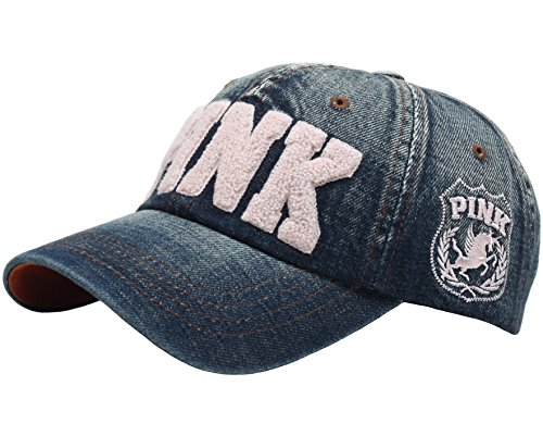 RaOn B53 New Pink Emblem Women Sexy Twinkle Club Lady Ball Cap Baseball Hat Truckers (Blue-Denim) ()