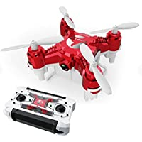 FUQI Pocket Drone 4CH 6Axis Gyro Quadcopter with Switchable Controller Helicopter Toys with 2.0MP HD Camera(Red)