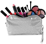 SmartEmily Girls Toys - Kids Makeup kit for Girl with Glitter Cosmetic Bag, Perfect Play Makeup for Girls and Teens, Washable and Non Toxic, Real Make up Set, Best Birthday Gifts for Girls, Silver