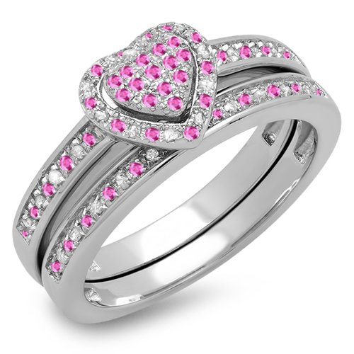 Sterling Silver Pink Sapphire & White Diamond Heart Shaped Ring Set (Size 9) (Ring Diamond Pink Fancy)