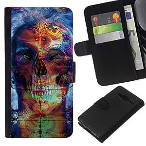 All Phone Most Case / Oferta Especial Cáscara Funda de cuero Monedero Cubierta de proteccion Caso / Wallet Case for Samsung Galaxy Core Prime // Psychedelic Neon Skull
