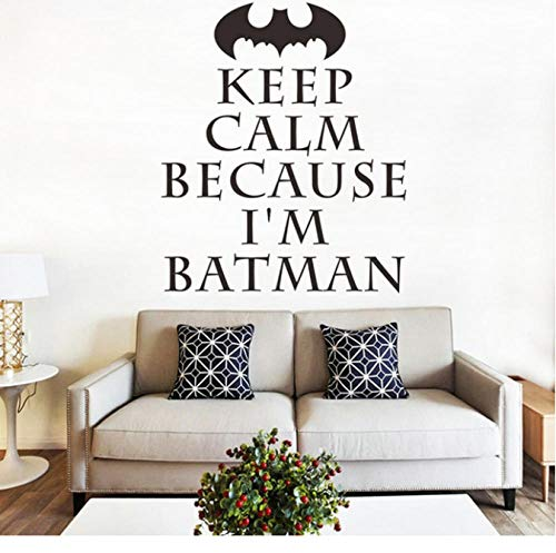 Keep Calm English Batman Superman Spider Wall Sticker for Kids Room Bedroom Home Decoration Wall Decal Home Decor Wallpaper 58X69Cm]()