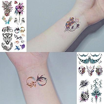 Oottati 8 Hojas Tatuajes Temporales 3D Mano Cuello Búho Ala Rosa ...