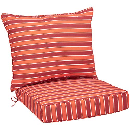 AmazonBasics Deep Seat Patio Seat and Back Cushion- Red Stripes (24 Seat Cushion)