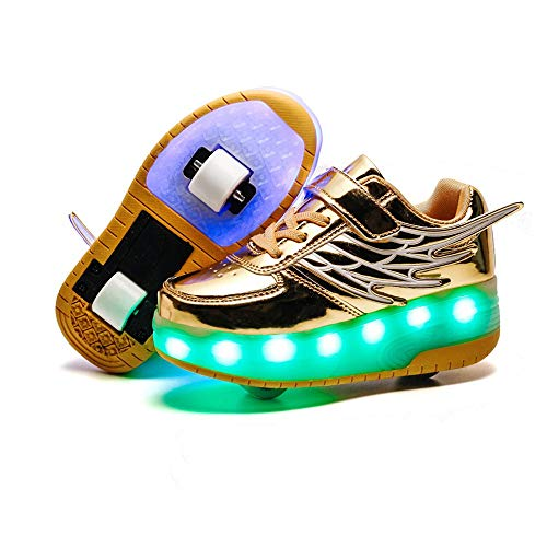 AIkuass USB Chargeable LED Light Up Double Roller Shoes Boys Girls Kids -